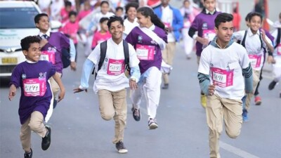 Young athletes running.