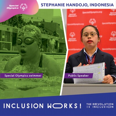 On the left is Stephanie swimming and no the right is Stephanie standing behind a podium speaking. Text at the bottom reads: Inclusion Works! The Revolution is Inclusion