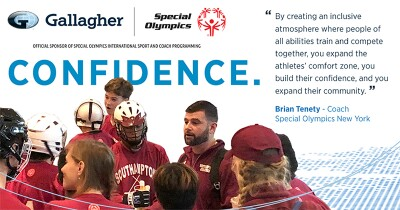 Image of athletes and coaches with the Gallagher and Special Olympics logos at the top.