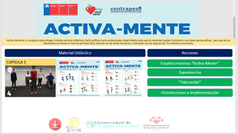 """A screenshot of a homepage with the words """"Activa Mente"""" at the top. There are various exercise instruction graphics and an exercise instruction video on the page."""