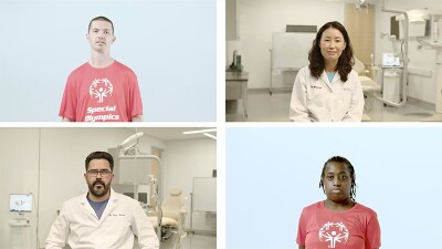 Four individuals: an athlete in the top left and bottom right and a health care professional in top right and bottom left.