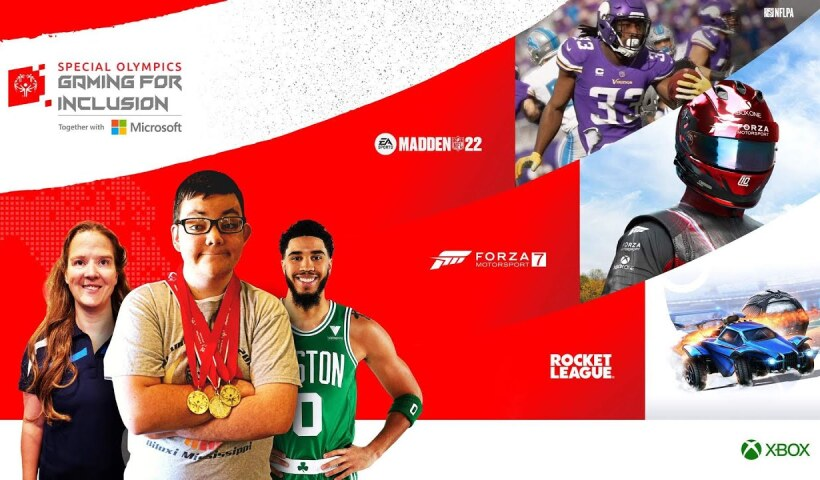 Gaming for inclusion branding with three athletes and three games depicted.