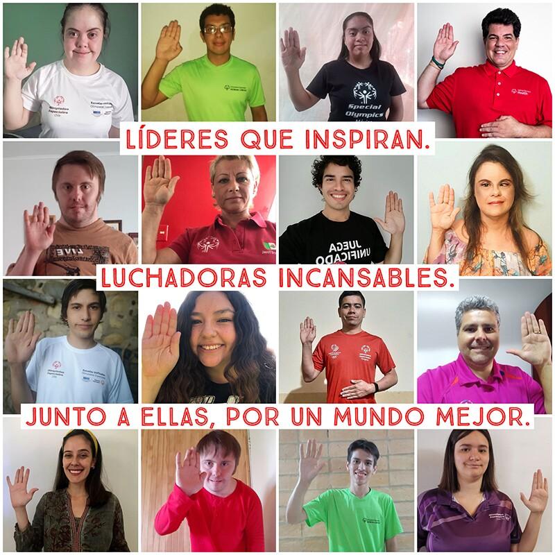Collage de personal, atletas y embajadores hombres y mujeres de Olimpiadas Especiales América Latina haciendo la pose del juramento en apoyo a Día Internacional de la Mujer.