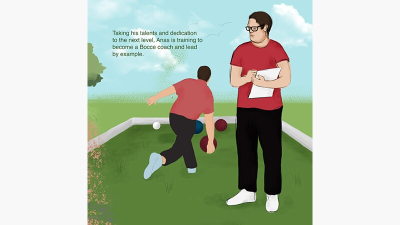 Anas' story slide 1: Anas Khalil Al Zorba Special Olympics Palestine. Illustration of Alas playing bocce and writing on a paper.