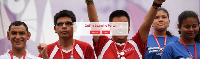 Image of 5 men and womeon, the man in the middle celebrating with his hands up. Text on top of the image reads: Online Learning Portal: Register | Login