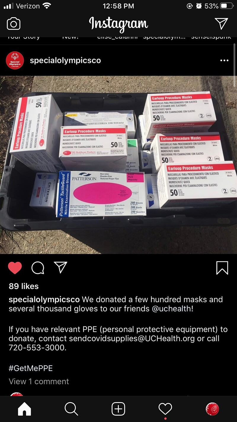 Instagram photo of donations from Special Olympics Colorado to a hospital for COVID-19.