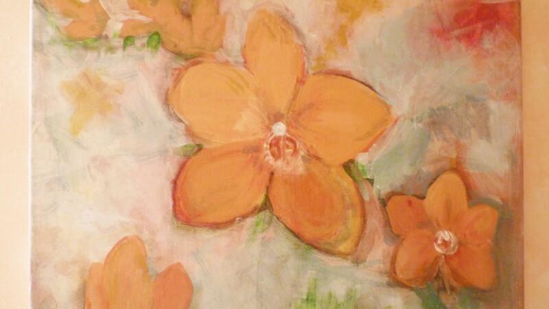 Lani De Mello Painting Large Flowers.