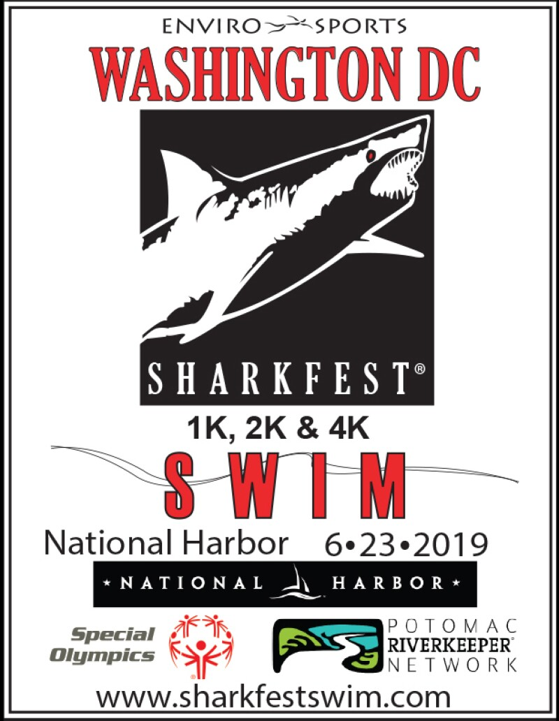 Poster announcing the 2019 DC Sharkfest Swim taking place in the waters of Washington D.C.'s National Harbor on June 23, 2019.
