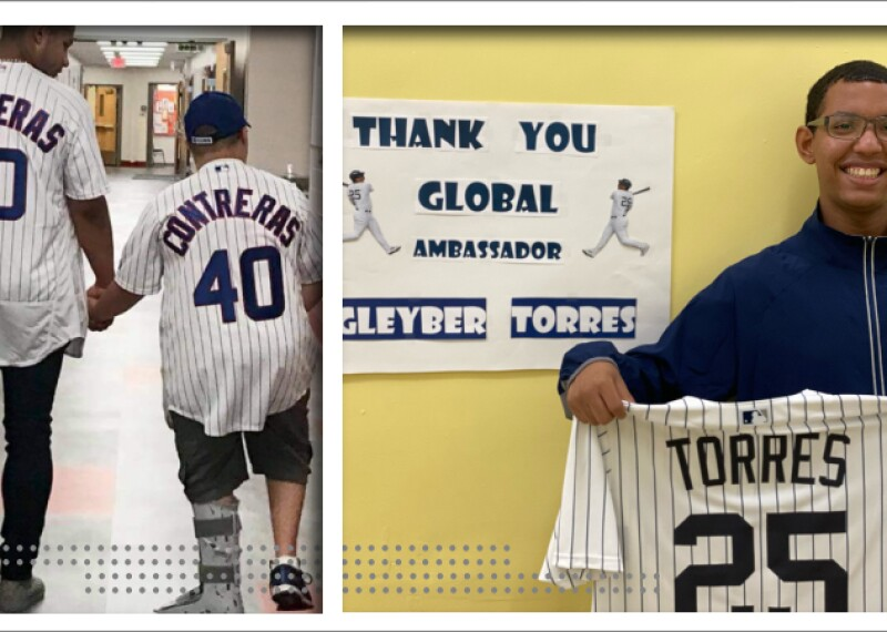 An athlete holding hands and walking with William Contreras and an athlete holding up Gleyber Torres' #25 shirt.