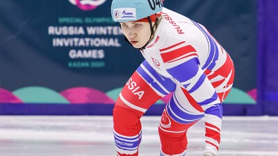 An athlete competes in speed skating during Special Olympics Russia Winter Invitational Games 2021