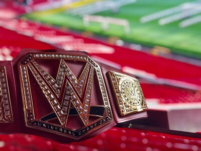WWE Title belt at Old Trafford stadium