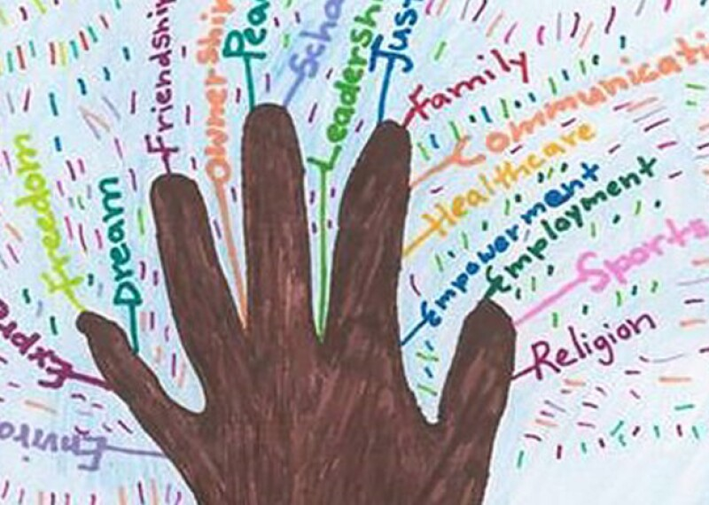 illustration of a hand coming out of the ground with words surrounding it. some of the words are, expression, freedom, dream, sports, religion, family, justice, and leadership