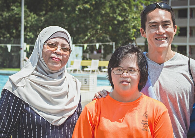 Ratna Mohd Zain, her daughter Nadhrah and Coach JC.