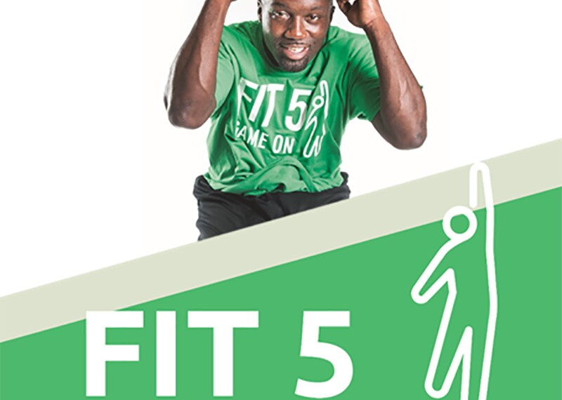 athlete jumping with text that reads Fit 5