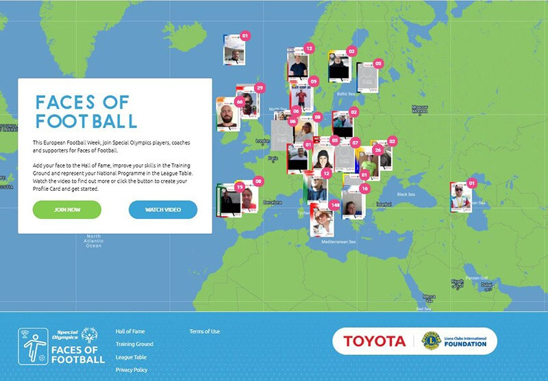 image of the Special Olympics Europe Eurasia Faces of Football Home Page.
