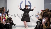 Jamie Brewer on stage at New York Fashion Week.