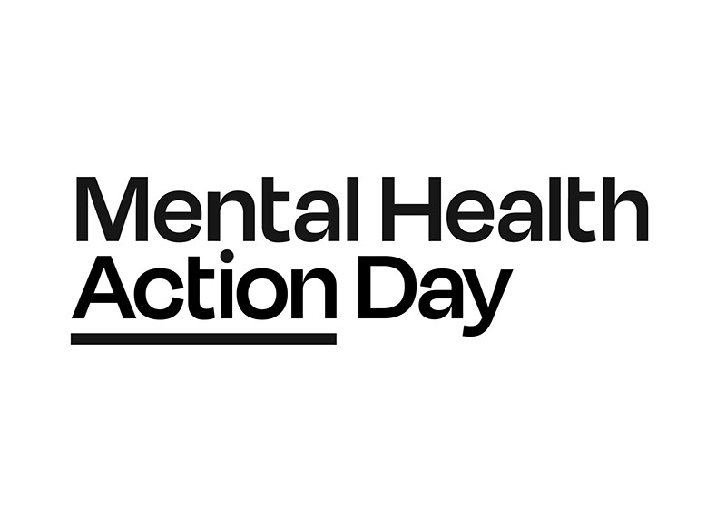 Mental Health Action Day black and white logo.
