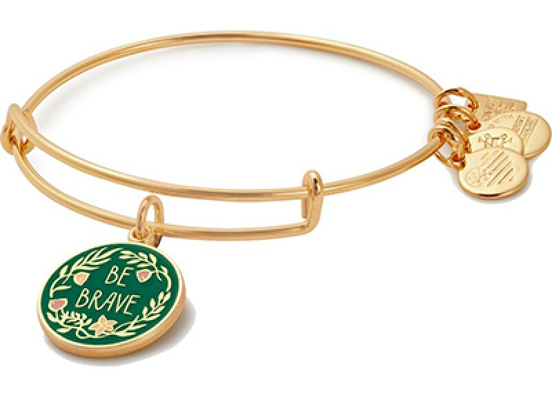 """gold bracelet with green decorate pieces that say """"Be Brave"""":"""