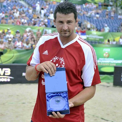 Vladmir Grobic holding a special souvenir.