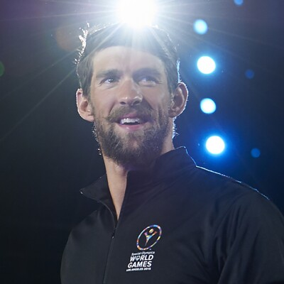 Michael Phelps on stage at Special Olympics World Games Los Angeles 2015