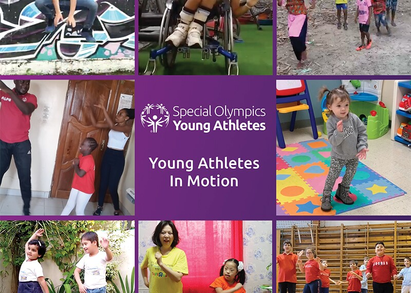 A collage of 9 images with text in the middle that reads: Special Olympics Young Athletes: Young Athletes in Motion