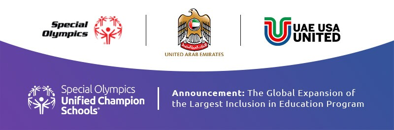 Panel discussion footer featuring logos for Special Olympics, UAE, and UAE USA United.