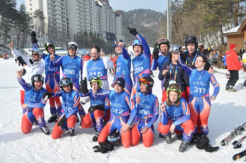 Melissa with SO USA Alpine Ski team PyeongChang.