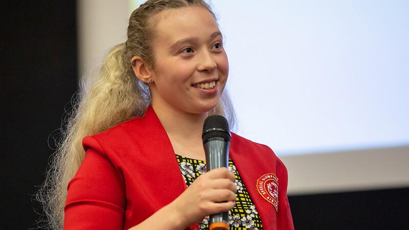 Athlete leader Kiera Byland from Special Olympics Great Britain speaking at the Leadership Conference 2018.