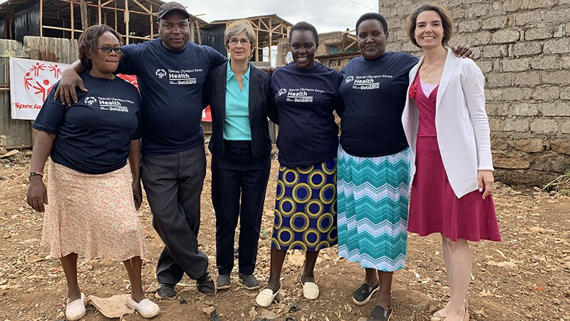 Ann Costello and Alicia Vazzano with Helathy Communities staff in Kenya.