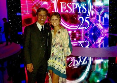 Tim and Kathleen Shriver on stage at the 25th ESPYS