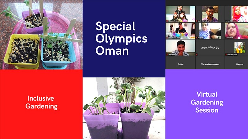 """The photo is a collage of various plants pictures shared by participants of a virtual workshop organized by Special Olympics Oman on gardening. It includes text such as """"Special Olympics Oman"""", """"Inclusive Gardening"""", """"Virtual Workshop""""."""