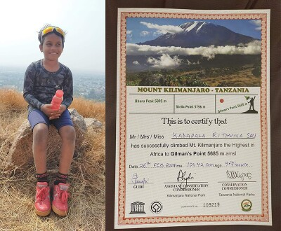 Rithvika Sri sits on a rock during her Mount Kilimanjaro climb and photo of the certificate Rithvika received after climbing Mount Kilimanjaro.