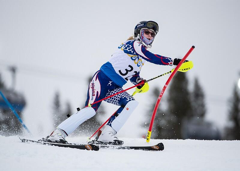 Female skier on the slopes.