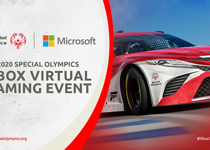 On the left text that reads: Special Olympics | Microsoft: 2020 Special Olympics XBox Virtual Gaming Event. On the right an image of a Toyota race car.