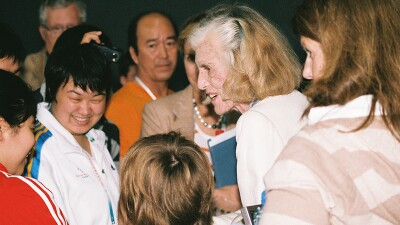 Eunice Kennedy Shriver meets Special Olympics World Games supporters while in Shanghai, in 2007.