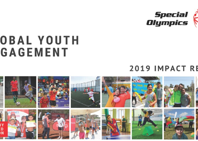 Cover page of the Global Youth Engagement Impact Report. Photos of youth engaging in Special Olympics around the world.