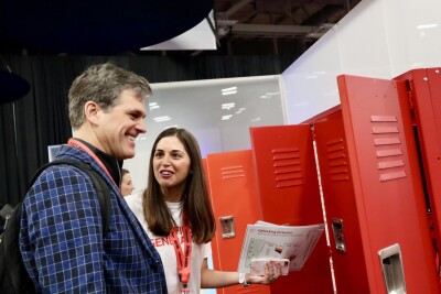 Teacher Jennifer Paolantonio with Chairman Tim Shriver at SXSW EDU 2019