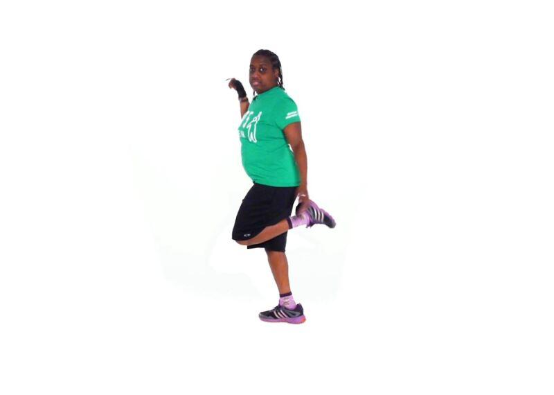 Athlete demonstrating Butt Kicks.