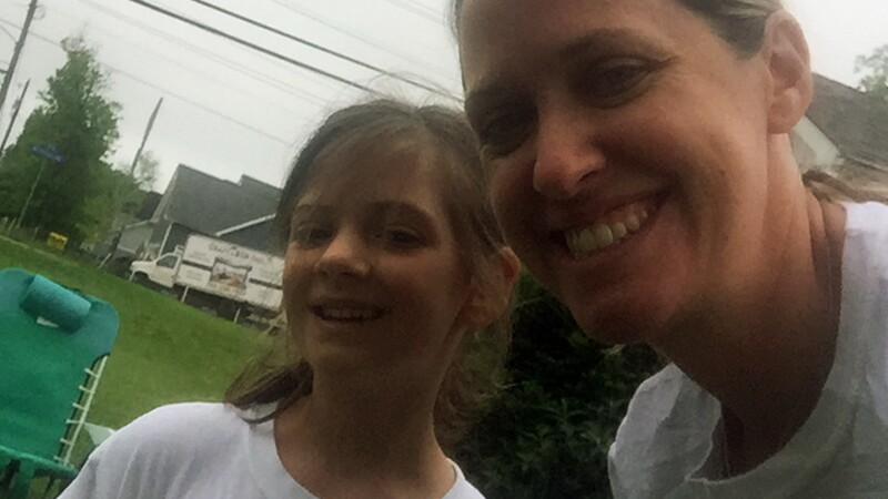 Amy Herbst and her daughter after a run.
