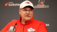 Kansas City Chiefs' head coach speaking at a press conference.
