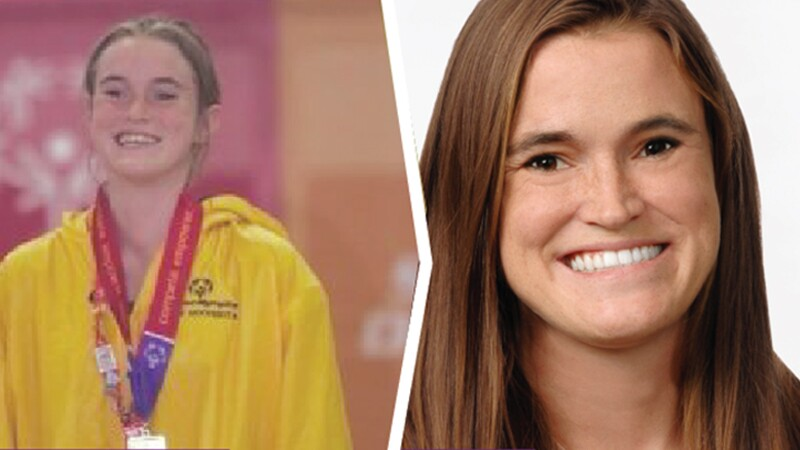 Split image of Danielle with credentials around her neck and a head shot of her smiling.