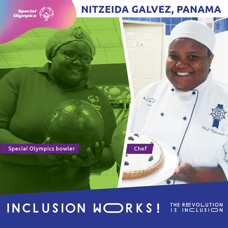 nitzeida bowling and dressed in her chefs uniform.