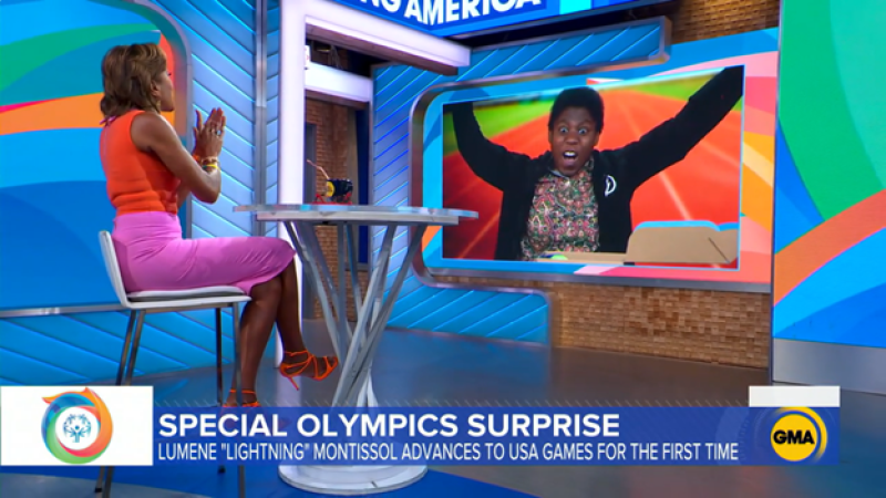 A Special Olympics athlete reacts with surprise after learning she'll compete at the 2022 Special Olympics USA Games.
