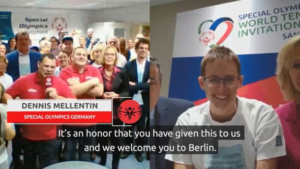 Split screen of SO Germany and SO representatives at Special Olympics World Tennis Invitational in Santo Domingo Dominican Republic talking to one another and announcing Special Olympics 2023 will be held in Berlin, Germany.
