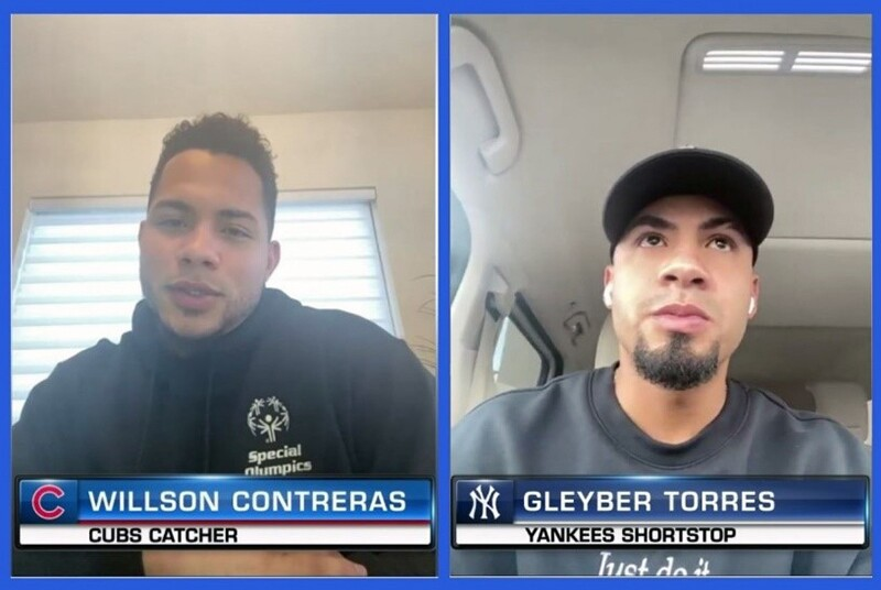 Chicago Cubs catcher Willson Contreras on the right and New York Yankees infielder Gleyber Torres on the left.