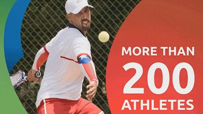 Athlete playing tennis. Text on the screen reads: more than 200 athletes.