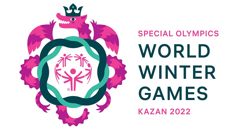 Official Kazan 2022 logo, with the friendly Zilant welcoming all athletes.
