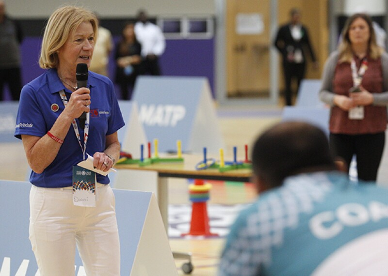 Special Olympics CEO Mary Davis greets athletes, coaches and families at the Motor Activity Training Program in Abu Dhabi during the Special Olympics World Games 2019.
