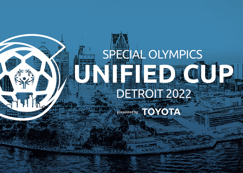 image of Downtown Detroit. Text reads: Special Olympics Unified Cup Detroit 2022 Presented by Toyota.