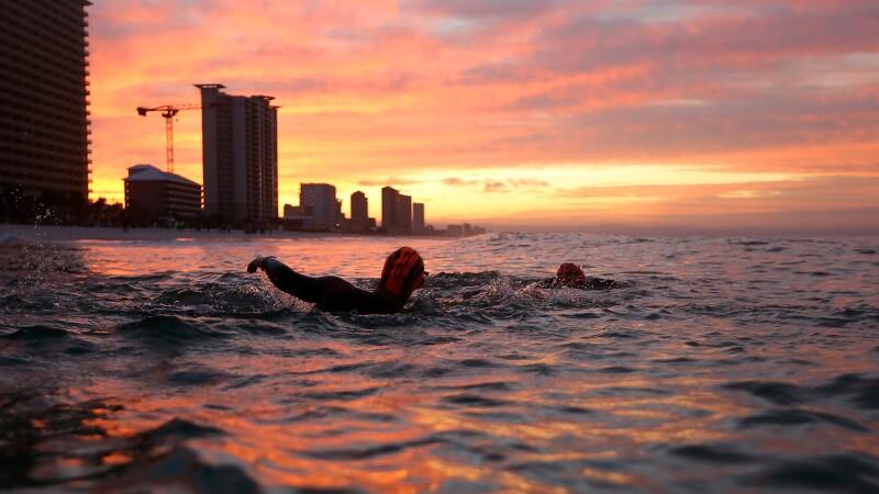 Chris Nikic and Dan Grieb swam 2.4 miles during the IRONMAN Florida challenge.